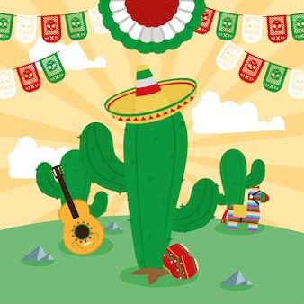 Cacto mexicano e ícones
