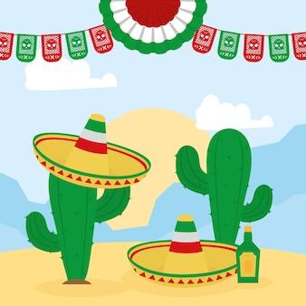 Cacto mexicano usando chapéus