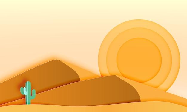 Cacto na paisagem do deserto com ilustração em vetor papel arte estilo
