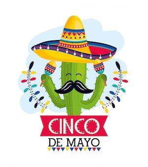 Cacto planta com chapéu e maracas para evento mexicano