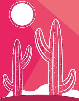Cacto planta deserto sol cena paisagem cor rosa ilustração