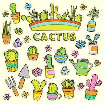 Cacto plantas desenhos animados cor doodle ilustração