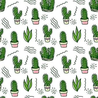 Cacto verde doodle de fundo padrão sem emenda