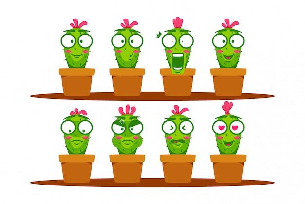 Cacto verde dos desenhos animados mascote personagem sorridente emoji expressão coleção definida