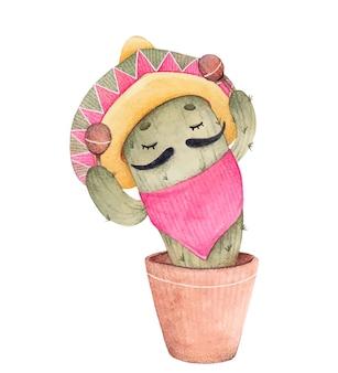Cacto verde em estilo mexicano. ilustração em aquarela