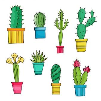Cactos adorável dos desenhos animados e plantas em vasos