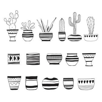 Cactos. conjunto de plantas e vasos de flores vazios. ilustração em vetor doodle.
