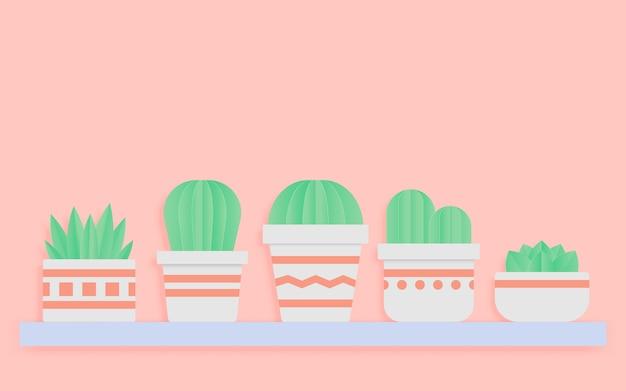Cactos e suculentas em potes papel arte estilo em fundo de cor pastel doce