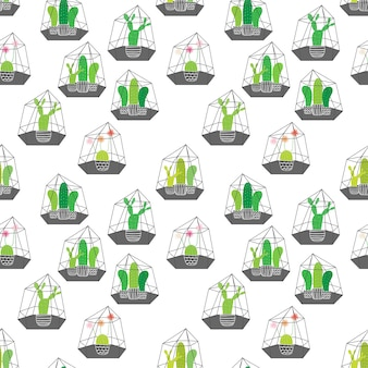Cactos em terrários de vidro com padrão geométrico. ilustrações do vetor para o projeto do papel de embrulho.