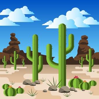 Cactos em um deserto rochoso