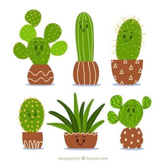 Cactus com coleção de expressão facial