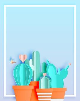 Cactus em estilo de arte em papel ou artesanato digital