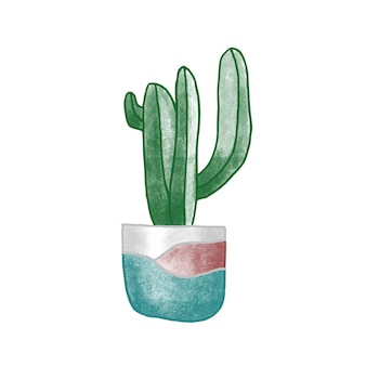 Cactus em ilustração vetorial desenhada de mão de panela de barro. planta da casa, item do interior do quarto, atributo de aconchego. suculenta em desenho a cores de vaso de cerâmica. planta de casa em vaso isolada no fundo branco.