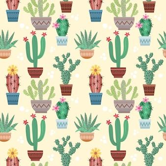 Cactus em pote sem costura padrão.