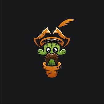 Cactus head pirates logo ilustration