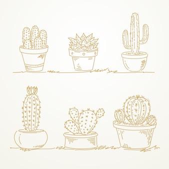 Cactus in pot, sketch mão desenhada