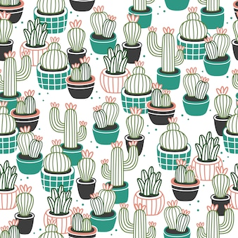 Cactus in pots seamless pattern