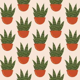 Cactus sanseviera pattern background ilustração em vetor botânico