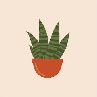 Cactus sansevieria symbol post ilustração vetorial de mídia social