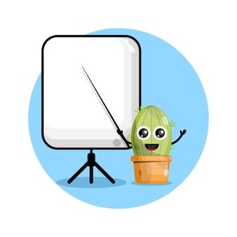 Cactus se torna um logotipo de personagem fofo do professor
