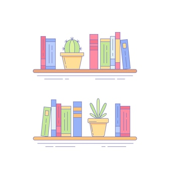 Cactus, succulent na estante com livros
