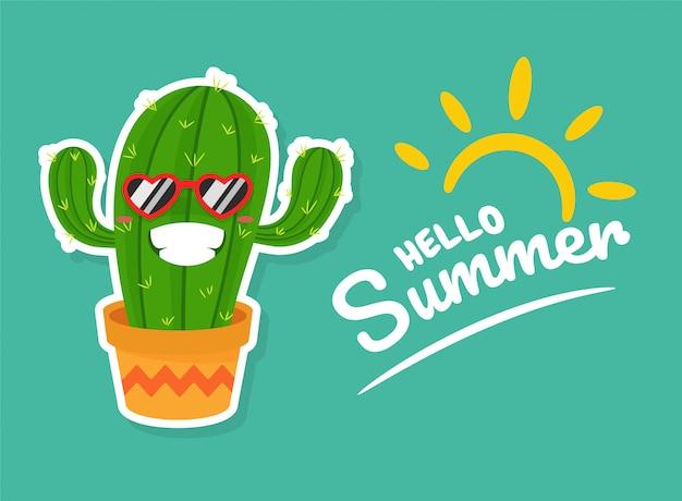 Cactus usando óculos escuros em forma de coração está feliz com a chegada do verão.