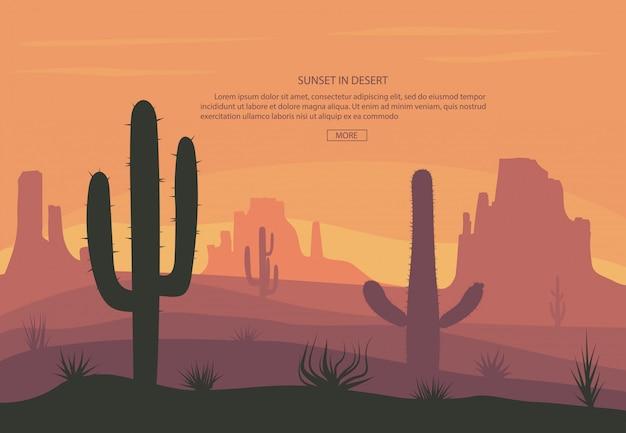 Cactuse e montanhas no fundo de bandeira de paisagem do deserto