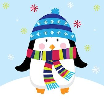 Cad de natal com design de pinguim fofo