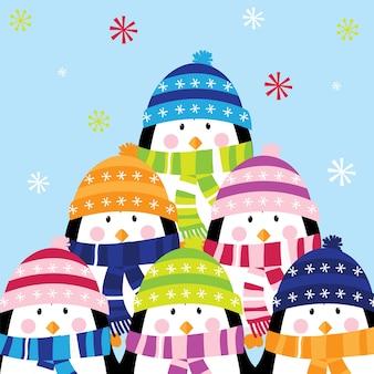 Cad de natal com um lindo design de pinguim de família