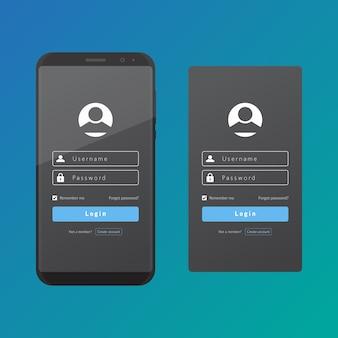 Cadastre-se na interface do usuário e ux com um modelo de design de vetor de telefone inteligente