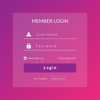 Cadastre-se na interface do usuário e ux para web log no modelo de design de vetor