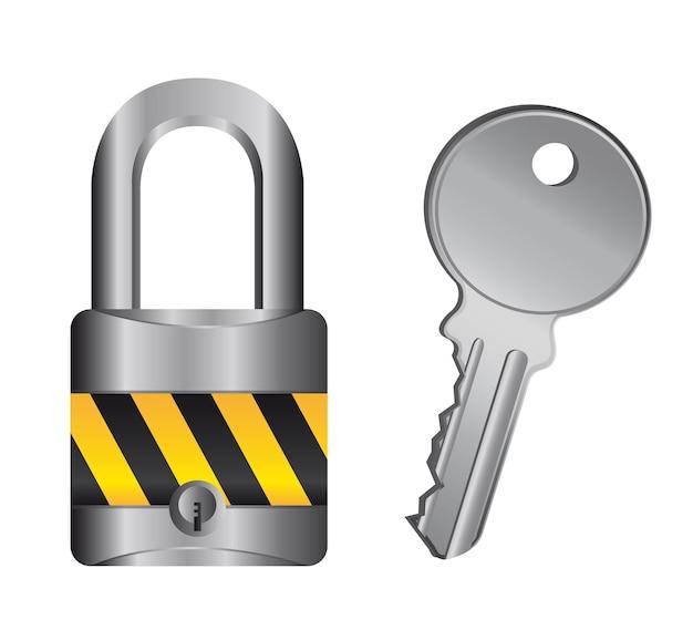 Cadeado com chave isolado sobre o vetor de fundo branco