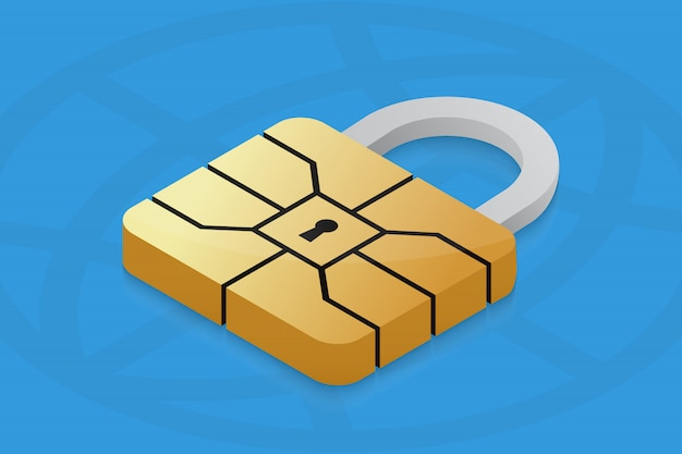 Cadeado com chip emv para cartão de crédito.