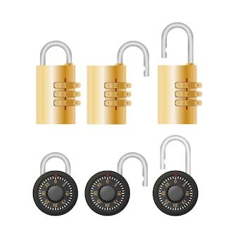 Cadeado com código. cadeado para portas, cofres e malas. estilo simples. vetor.