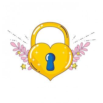Cadeado com ícone de amor do coração