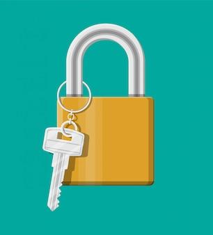 Cadeado de metal com chave. cadeado com chaveiro