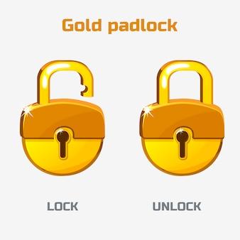 Cadeado de ouro dos desenhos animados. bloquear e desbloquear.