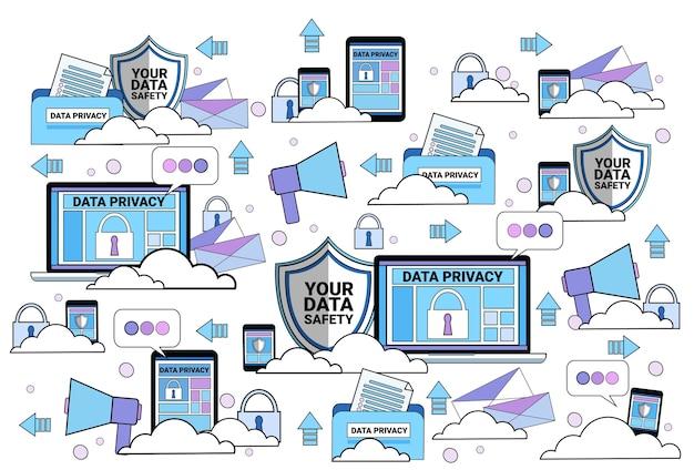 Cadeado de tablet de escudo de nuvem de segurança de dados
