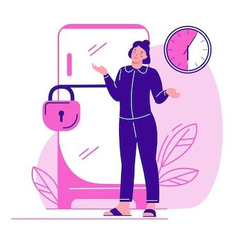 Cadeado do refrigerador. relógio dial. a mulher encolhe os ombros. não coma depois das 18h, em jejum.