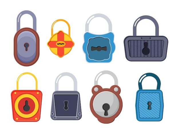 Cadeado dourado aberto, desbloqueado e bloqueado para proteção e segurança. fechaduras abertas e fechadas. uma coleção de cadeados dourados de várias formas e condições. estilo simples.