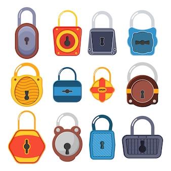 Cadeado dourado aberto, desbloqueado e bloqueado para proteção e segurança. fechaduras abertas e fechadas. uma coleção de cadeados dourados de várias formas e condições. ilustração do estilo simples.
