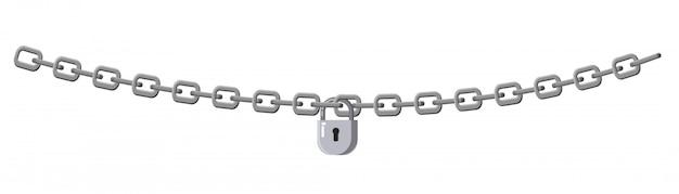 Cadeado e corrente isolados no fundo branco. conceito de proteção da informação, propriedade, inacessibilidade