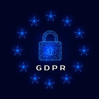 Cadeado e estrelas no fundo escuro do regulamento geral de proteção de dados (gdpr). ilustração