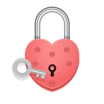 Cadeado em forma de coração com chave