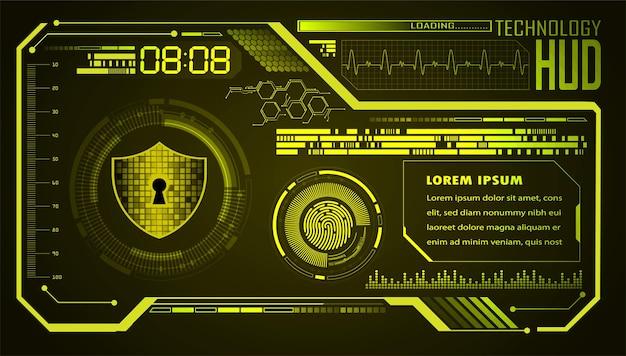 Cadeado fechado em fundo digital hud segurança cibernética