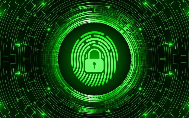 Cadeado fechado hud de impressão digital em fundo digital, segurança cibernética