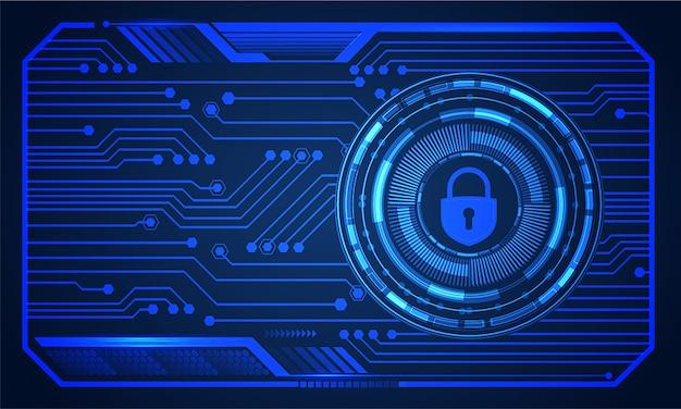 Cadeado fechado hud no fundo digital, segurança cibernética
