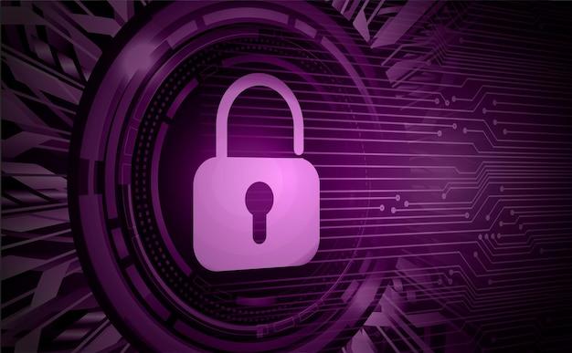 Cadeado fechado na segurança cibernética de fundo digital