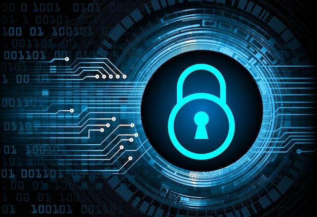 Cadeado fechado no fundo digital, azul segurança cibernética chave