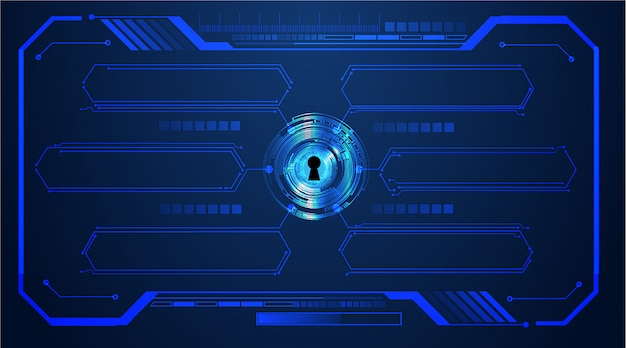 Cadeado fechado no fundo digital, segurança cibernética, caixa de texto